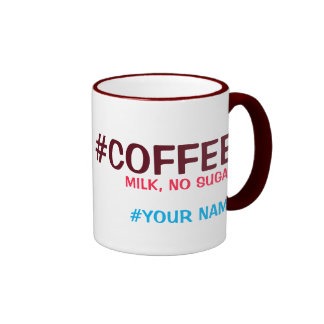 Hashtag personalized, with your drink choice ringer mug