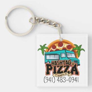 Hashtag Pizza Keychain