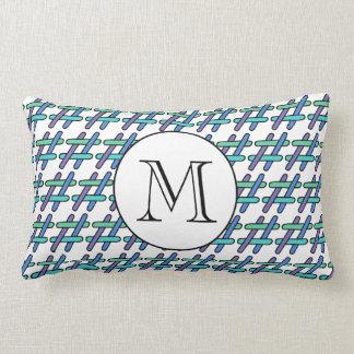 # Hashtag Plaid Personalized Monogram Social Media Lumbar Pillow
