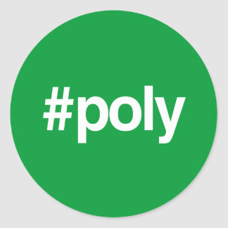 HASHTAG POLY CLASSIC ROUND STICKER