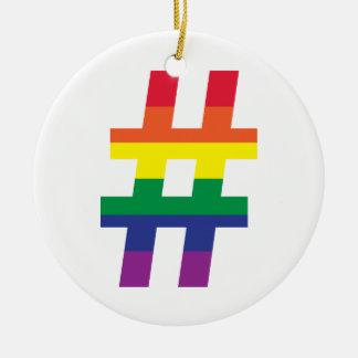 hashtag, Rainbow Flag Ceramic Ornament