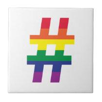 hashtag, Rainbow Flag Ceramic Tile