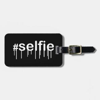 Hashtag Selfie Drooling Black Decor Luggage Tag