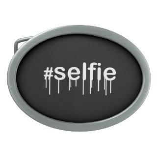 Hashtag Selfie Drooling Black Decor Oval Belt Buckle