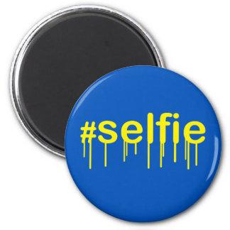Hashtag Selfie Drooling en la decoración azul Imán Redondo 5 Cm