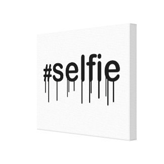 Hashtag Selfie Drooling Typography Canvas Print
