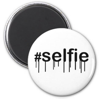 Hashtag Selfie Drooling Typography Magnet