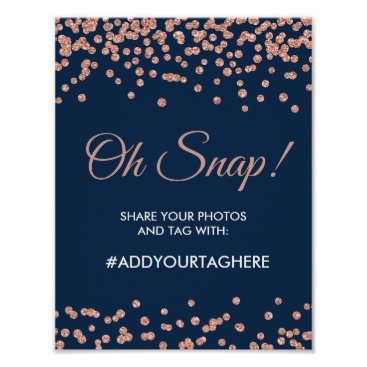 Wedding Themed Hashtag Sign Rose Gold Glitter Confetti Navy Blue