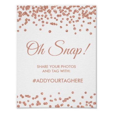 Wedding Themed Hashtag Sign Rose Gold Glitter Confetti White