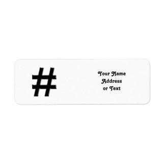 #HASHTAG - símbolo de la etiqueta del hachís Etiqueta De Remite