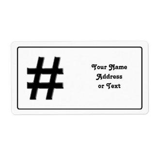#HASHTAG - símbolo de la etiqueta del hachís Etiquetas De Envío