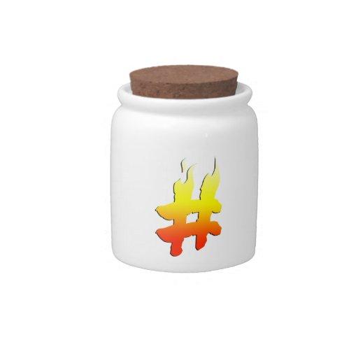 #HASHTAG - símbolo de la etiqueta del hachís en el Jarras Para Caramelos