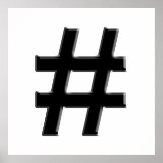 #HASHTAG - símbolo de la etiqueta del hachís Póster