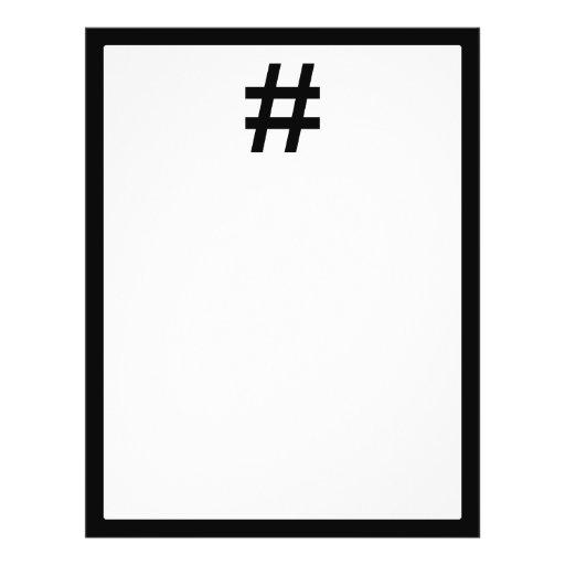 "#HASHTAG - símbolo negro de la etiqueta del hachís Folleto 8.5"" X 11"""