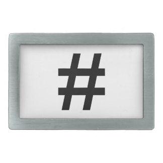 #HASHTAG - símbolo negro de la etiqueta del hachís Hebilla De Cinturón Rectangular