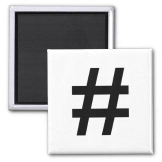 #HASHTAG - símbolo negro de la etiqueta del hachís Imán Cuadrado