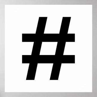 #HASHTAG - símbolo negro de la etiqueta del hachís Póster