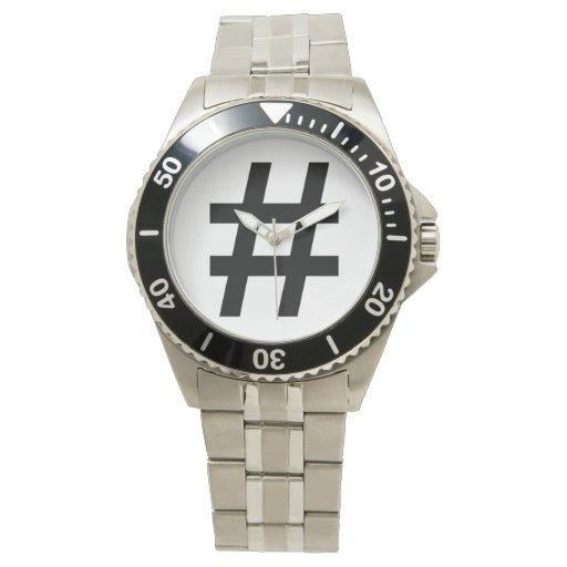 #HASHTAG - símbolo negro de la etiqueta del hachís Relojes