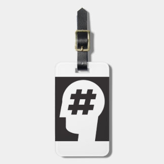 hashtag stuck in a head tag for luggage