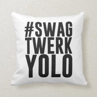 Hashtag Swag Twerk Yolo Throw Pillow