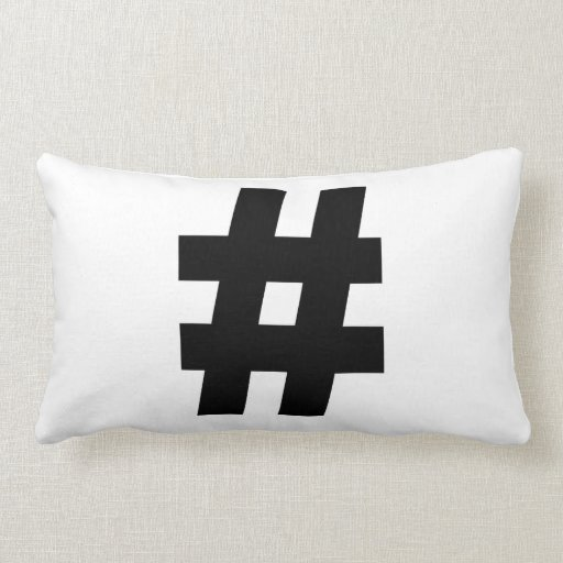 # Hashtag Symbol Number Sign Pound Key Tag Throw Pillows
