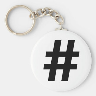 HASHTAG SYMBOL -.png Basic Round Button Keychain