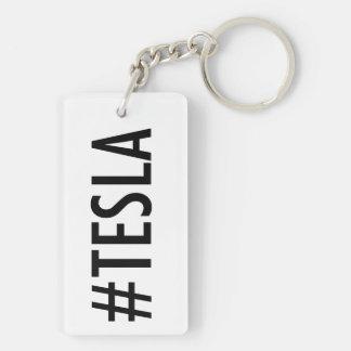 Hashtag # TESLA 2-sided keychain (red/black)