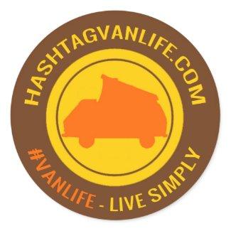 Hashtag Van Life Classic Round Sticker