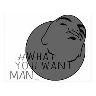 hashtag Yo Man What You Want ( mug shot) Postcard