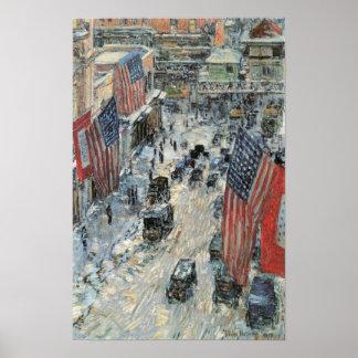 Hassam - banderas en la Quinta Avenida, invierno 1 Póster