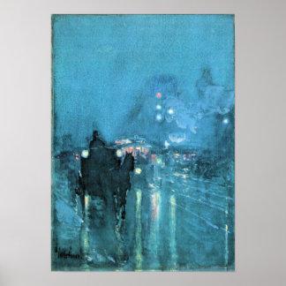 Hassam - Nocturne, cruce ferroviario, Chicago Posters