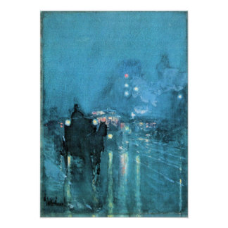 Hassam - Nocturne, Railway Crossing, Chicago Print