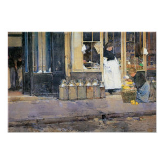Hassam - The flower girls and the milk vendor Poster
