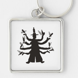Hassidic Bottle Dance Silver-Colored Square Keychain