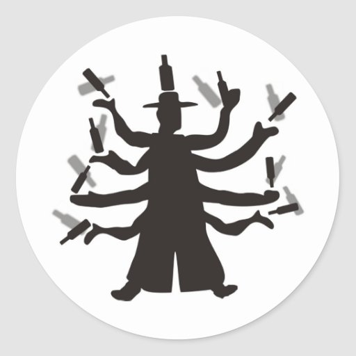 Hassidic Bottle Dance Round Stickers