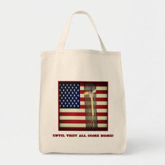 Hasta ellos todos vienen la bandera casera y cinta bolsa tela para la compra