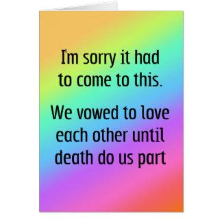 Hasta muerte háganos divorcio de la parte tarjeta de felicitación