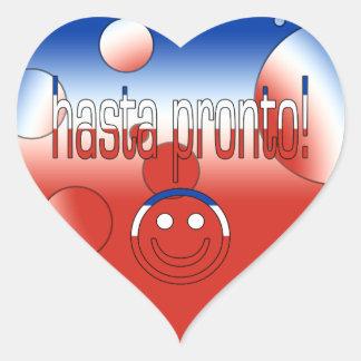 Hasta Pronto! Chile Flag Colors Pop Art Heart Sticker