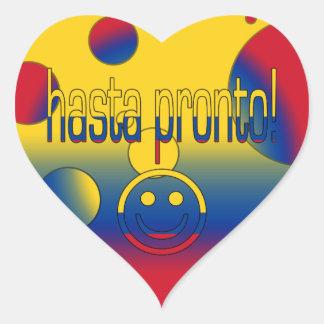 Hasta Pronto! Colombia Flag Colors Pop Art Heart Sticker