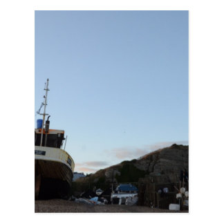 Hastings At Dusk With Fishing Boat Postcard