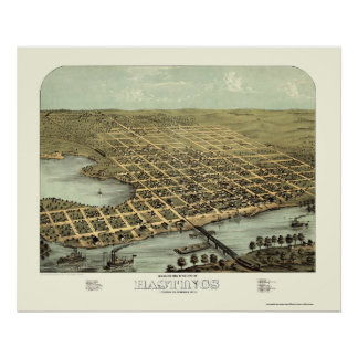 Hastings, mapa panorámico del manganeso - 1867 póster