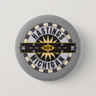 Hastings, MI 9D9 Airport Pinback Button