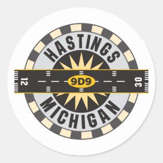 Hastings, MI 9D9 Airport Classic Round Sticker
