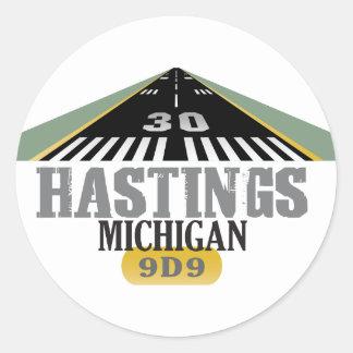 Hastings MI - Airport Runway Classic Round Sticker