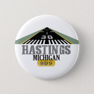 Hastings MI - Airport Runway Pinback Button