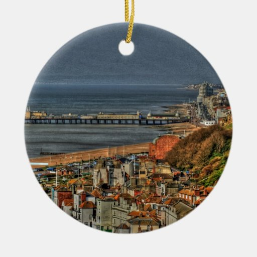 Hastings Old Town & Pier Double-Sided Ceramic Round Christmas Ornament