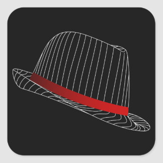 hat-158569 GANGSTER STYLE HATS FASHION BLACK WHITE Square Sticker