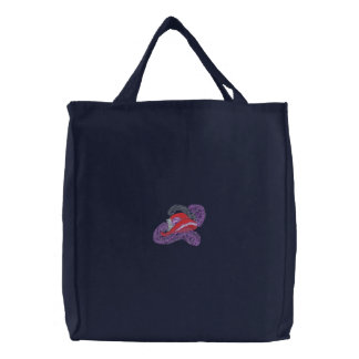 Hat and Boa Embroidered Tote Bag