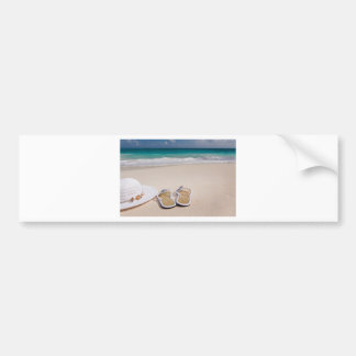 Hat and Flipflops on the Beach Car Bumper Sticker