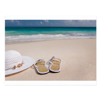 Hat and Flipflops on the Beach Postcard